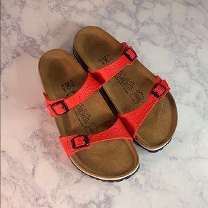 Birks Birkenstock's red straps